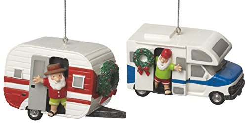 RV And Teardrop Camper Set made our list of the most unique camping Christmas tree ornaments to decorate your RV trailer Christmas tree with whimsical camping themed Christmas ornaments!