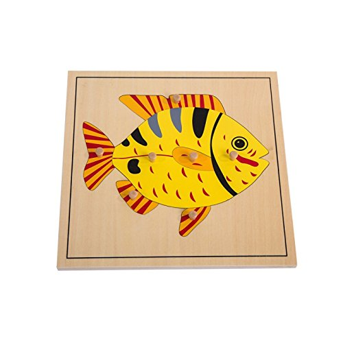 Montessori Nature Materials Fish Puzzle for Early Preschool Learning Toy