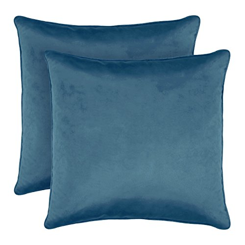 Laura Ashley Lucas Solid Shinny Velvet Dec. Pillow Set, 20 in. x 20 in, Blue, 2 Piece