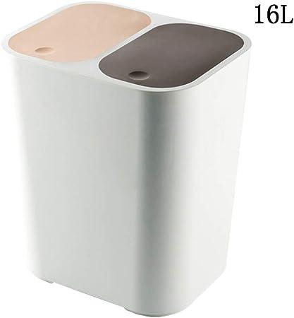 Y-r Papelera De Reciclaje Doble, Compartimiento con Compartimiento para La Separación De Residuos, Oficina, Uso En Interiores/Exteriores, Basura De Residuos para Jardín, Papelera Doble,b: Amazon.es: Hogar