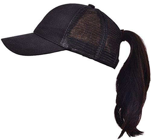 Beurlike Ponytail Baseball Cap High Bun Ponycap Adjustable Mesh Trucker Hats (Black) Black Adjustable Trucker Hat