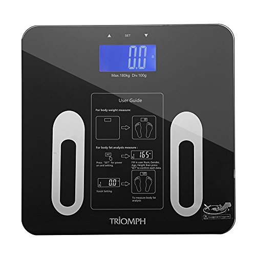 Triomph Digital Bmi Body Fat Scale with Step on Technology, 10 User Recognition, 400 lb. Capacity, Black