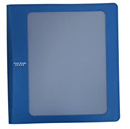 Five Star 3-Ring Customizable Plastic Binder, 1.5-Inch Capacity, 11.78 x 11.12 x 1.75 Inches, Blue (72423)
