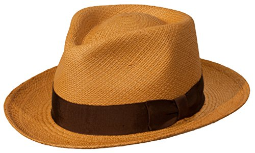 Levine Hat Co. Genuine Panama Bogart Fedora Straw Dress Hat (Medium (fits 7 to 7 1/8), Toast) -