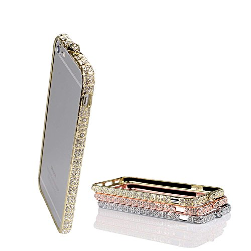 (iPhone 7 Case Bumper Frame Crystals Diamond Sparkle Protective Cover Shiny Jeweled Fashionable Design Suitable for iPhone6 6S Gold 4.7 inch )