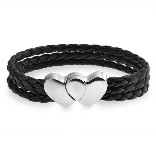 (Bling Jewelry Interlocking Heart Clasp Black Triple Strand Woven Braided Leather Bracelet for Women for Girlfriend Stainless Steel)