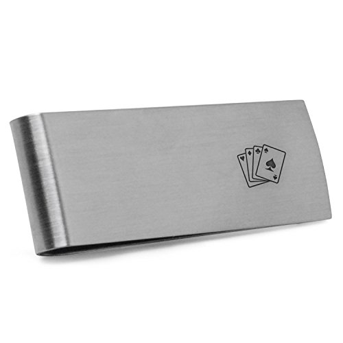 Poker Cards Money Clip | Stainless Steel Money Clip Laser Engraved In The USA.