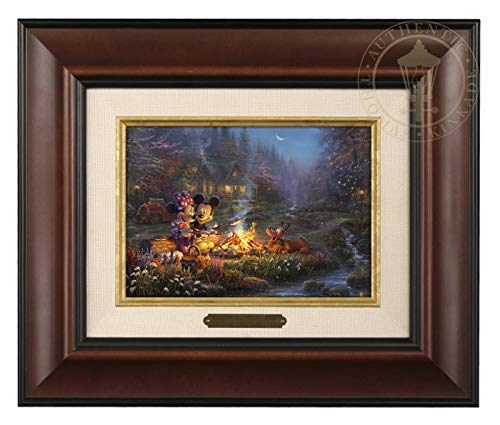 Thomas Kinkade Studios Mickey and Minnie Sweetheart Campfire 5 x 7 Brushwork (Burl Frame) ()