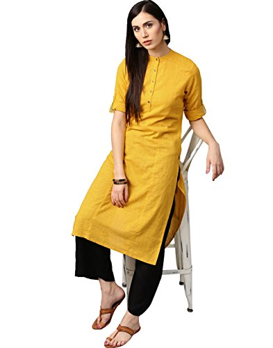(Jaipur Kurti Women Indian Casual Long Tunic Solid Straight Crepe Kurta & Palazzo (Yellow & Black))