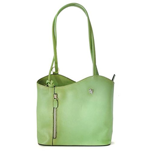 Pratesi Womens Italian Leather Consuma Backpack Convertible Small Shoulder Handbag in Green