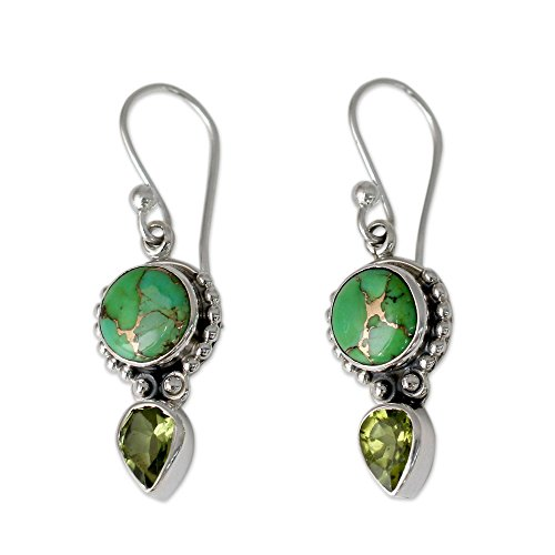 - NOVICA Multi-Gem Reconstituted Turquoise .925 Sterling Silver Dangle Earrings 'Spring Green'