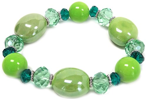 20mm Peridot Emerald - Linpeng LP06282012-05 Porcelain Bean with Crystal Stretch Bracelet, Light Green