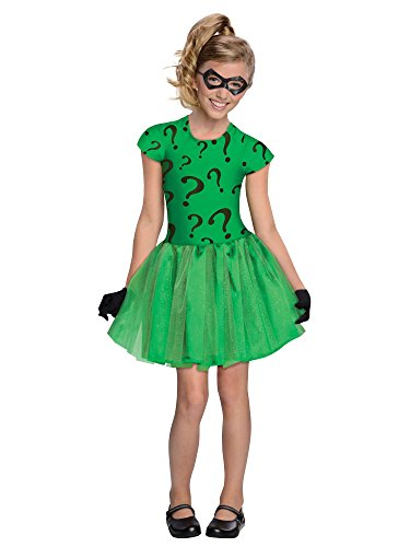 DC Super Villain Collection Riddler Girl's Costume with Tutu Dress, Medium -