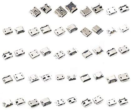 WYZXR 100pcs Multi-Specification Micro USB Connector Pin Charge Female SMT Socket Jack Set