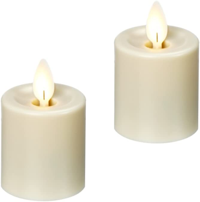 Ganz LED Water Resistant Resin Votive Pillar Candle 2pc. set (LLRV1014)
