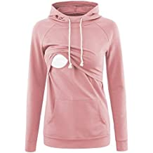 Liu & Qu Womens Nursing Hoodie Long Sleeves T-shirts Breastfeeding Layered Top Pocket Casual Clothes