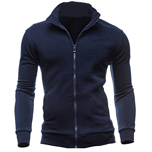 (Mysky Fashion Men Leisure Stand Collar Zipper Sweatshirts Sports Jacket Men Brief Solid Color Coat Navy)