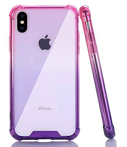 (BAISRKE iPhone X Case, Shock-Absorption TPU Soft Edge Bumper Anti-Scratch Rigid Slim Protective Cases Hard Plastic Back Cover for iPhone X iPhone Xs [5.8 inch] - Pink Purple Gradient)