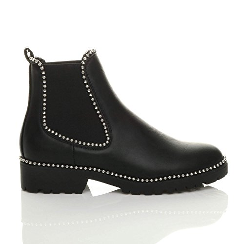 Size Chelsea on Boots Heel Low Pull Ankle Chunky Ladies Womens Studded Ajvani Black Block 8zq7B6qw