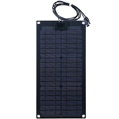 Lensun 20W 12V Black Fiberglass Semi-Flexible Monocrystalline Solar Panel for 12V Charge Battery on Boats, Caravans, Motorhomes, Yachts, RVs
