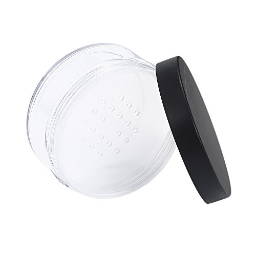 - ZHONGLI 50g Empty Loose Powder Pot - Plastic Refillable With Sieve Cosmetic Container Travel Clear Containers Jars Sample Pots Bottles