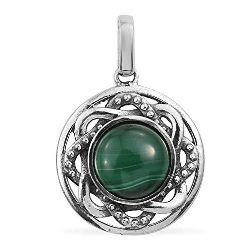 925 Sterling Silver Round Malachite Pendant for Women