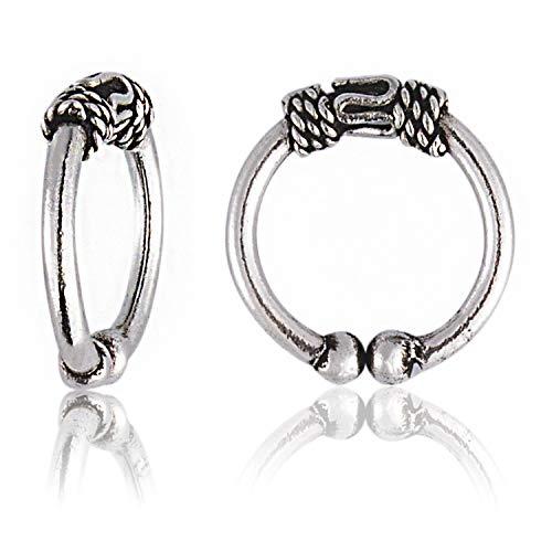 OwMell S925 Sterling Silver Oxidized Twist Non Pierced Ear Cuff Wrap Clip on Earrings no Piercing Cartilage Earrings for Men & - Oxidized Ear Cuffs