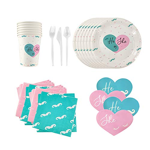Gender Reveal Party Supplies, (Serves 24) Napkins, Plates, Cups, Utensils, and 48 Stickers for games! - Gender Reveal Decorations,