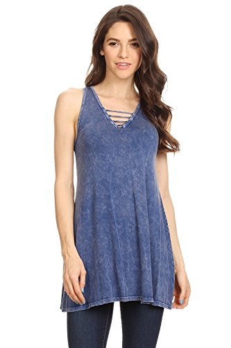 Party Cami (T-Party Womens Solid, Mineral Washed Sleeveless Long Body Top 95% Viscose 5% Spandex // Made In Usa)