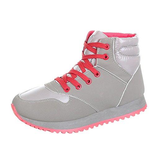Ital-Design - Zapatillas de Material Sintético para mujer Rojo - Rot Grau