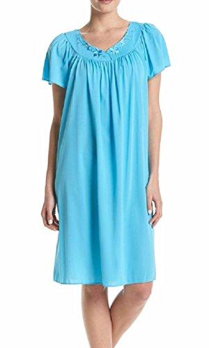Miss Elaine Women's Plus Tricot Short Flutter-Sleeve Nightgown, Blue Vine (1X)