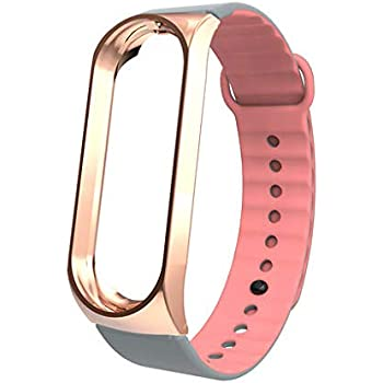 Lyperkin Strap Compatible with Xiaomi Mi Band 3 Bracelet, Premium Silicone Wristband with Mental Case Replacement Band Accessories for Xiaomi Mi Band 3 S-24