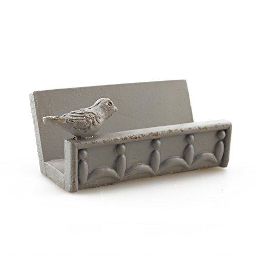 Desk Business Card Holder Stand Bird Design (Grey) -