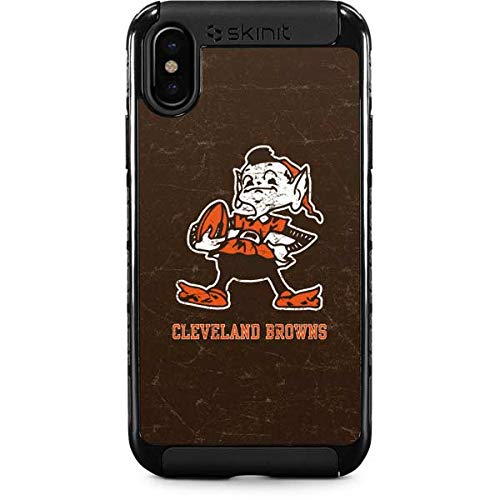 Skinit Cleveland Browns Alternate Distressed iPhone Xs Max Cargo Case - Officially Licensed NFL Phone Case - Durable Double Layer iPhone Xs Max Cover with Enhanced Grip