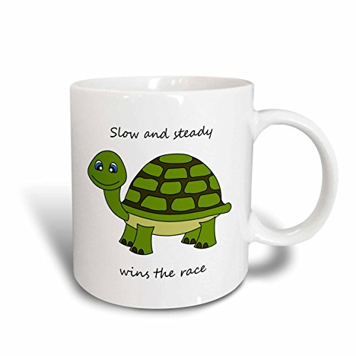3dRose Slow and Steady Wins The Race Turtle Mug, 11-Ounce, ()
