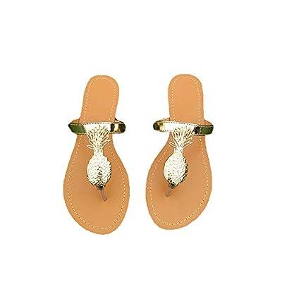 THOVSMOON Women Summer Casual Flip-Flops Flat Thong Sandals with Gold Pineapples Metallic Straps | Sandals
