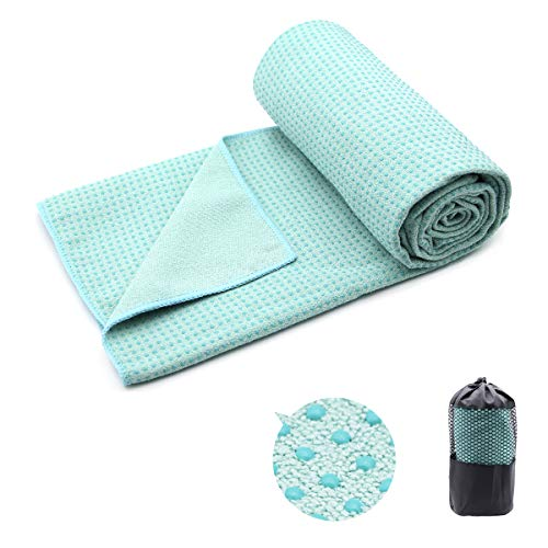 Yoga Towel,Hot Yoga Mat Towel with Corner Pockets Design - Sweat Absorbent Non-Slip for Hot Yoga,Bikram and Pilates (Solid-Teal)