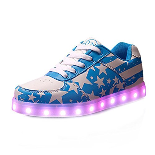 (Present:small towel)JUNGLEST 7 Colors Stars Led Shoes Light Up For Blue
