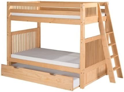 Camaflexi 95.5 in. Bunk Bed with Twin Trundle in Natural Finish