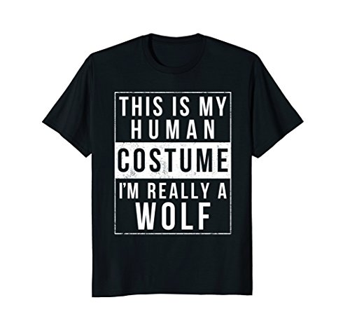 Mens Wolf Halloween Costume Shirt Funny Easy for Kids Men Women 3XL (Last Minute Simple Halloween Costumes For Adults)