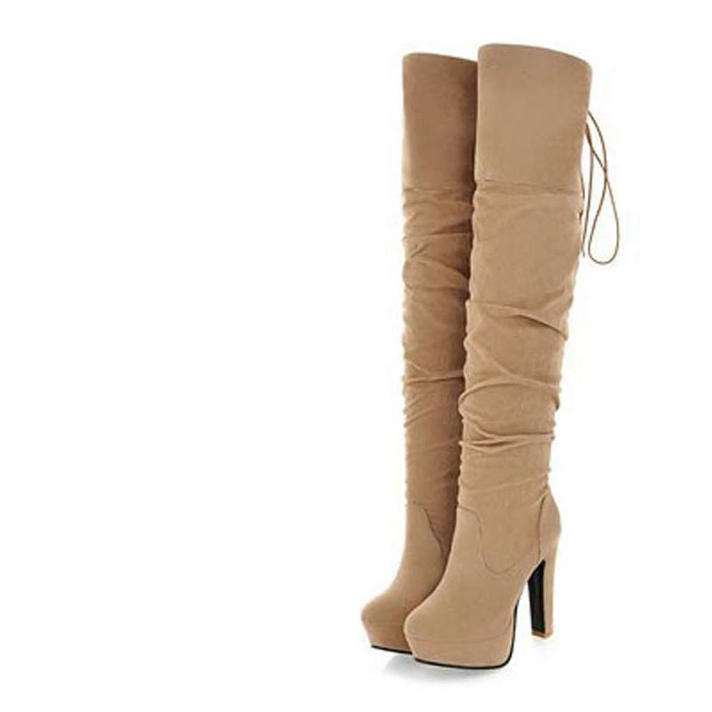 TANGOGO Female Buckle Strap Thick Heels Big Size Shoes Winter Over The Knee Boots Slip on Thigh High Boots