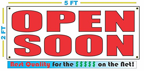 All Red OPEN SOON All Weather Full Color Banner Sign - Open Soon Banner