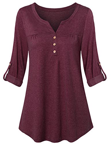 UXELY Women's Long Sleeve Shirt Casual V Neck Pleated Flowy Loose Fit Swing Tunic Tops (Wine red, Medium)