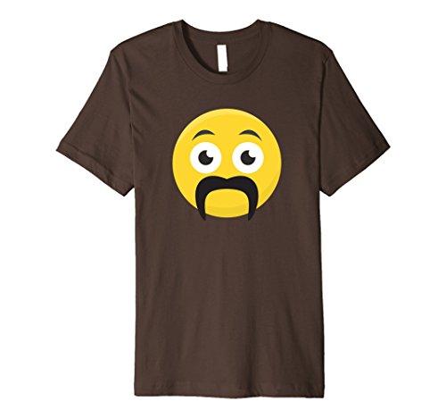 Mens Smiley With Fu Manchu or Horseshoe Mustache Premium T-Shirt 2XL Brown - Fu Manchu Beard
