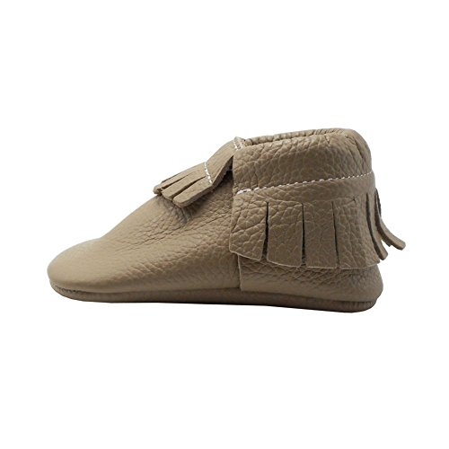 Pictures of YIHAKIDS Baby Tassel Shoes Soft Leather Sole Infant Shoes Baby Moccasins Crib Shoes Khaki(Size 5,6-12 Months/4.9in) 5