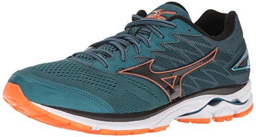Mizuno Running Men's Wave Rider 20 Running Shoes, Blue Coral/Black/Clownfish, 7 D(M) US