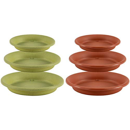 (Apipi 6 Pcs Plant Saucer Drip Trays, Home Garden Flower Plant Container Plastic Pot Tray Pallets)