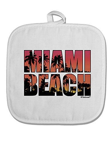 TooLoud Miami Beach - Sunset Palm Trees White Fabric Pot Holder Hot Pad