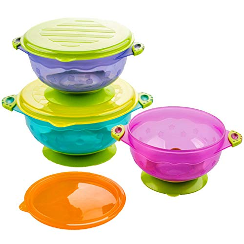 Silikong Suction Bowls for Toddlers, FDA Approved, Dishwasher and Microwave Safe. Stay Put Dishes for Kids, Babies and Infants. 3 Pack