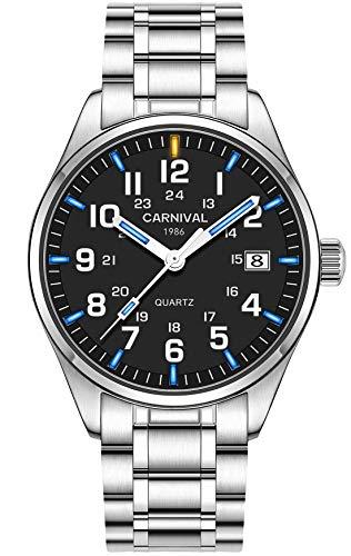 PASOY Men's Tritium Luminous Watch Blue Light Waterproof Silver Stainless Steel Quartz Wrist Watches T25 (Black dial/Blue Light)